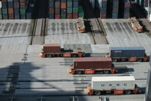 Shipyard filled with shipping containers